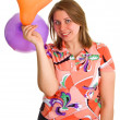 Joyful woman with balloons — Stockfoto