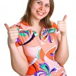 Women showing Thumbs up — Stock Photo