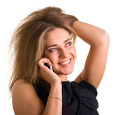 Smiling girl with cellular phone — Stock Photo