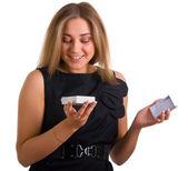 Mooi meisje met een cadeau — Stockfoto