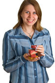 Nice women with soap pieces in hands — Stock Photo