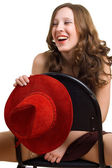 Fille avec un chapeau rouge — Photo
