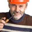 Stock Photo: Smiling men in red building helmet