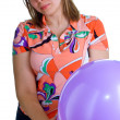 Stock Photo: Young joyful womwith balloons