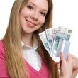 Royalty-Free Stock Photo: Girl with money and credit card on hands