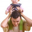 Men with a little child — Stock Photo