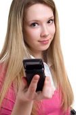 Serenity girl with cellular phone — Stock Photo