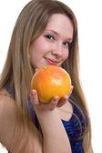 Young beautiful girl with grapefruit — Stockfoto