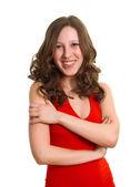 Usmívající se ženy v červených šatech — Stock fotografie