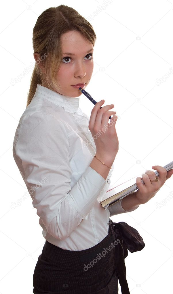 Young girl with pen and sheet of paper. Isolation on a white background — Stock Photo #1580590