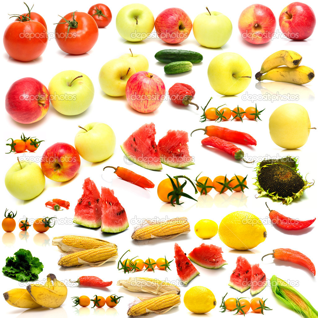 Collage from fruits and vegetables on a white background. Isolation — Stock Photo #1584363