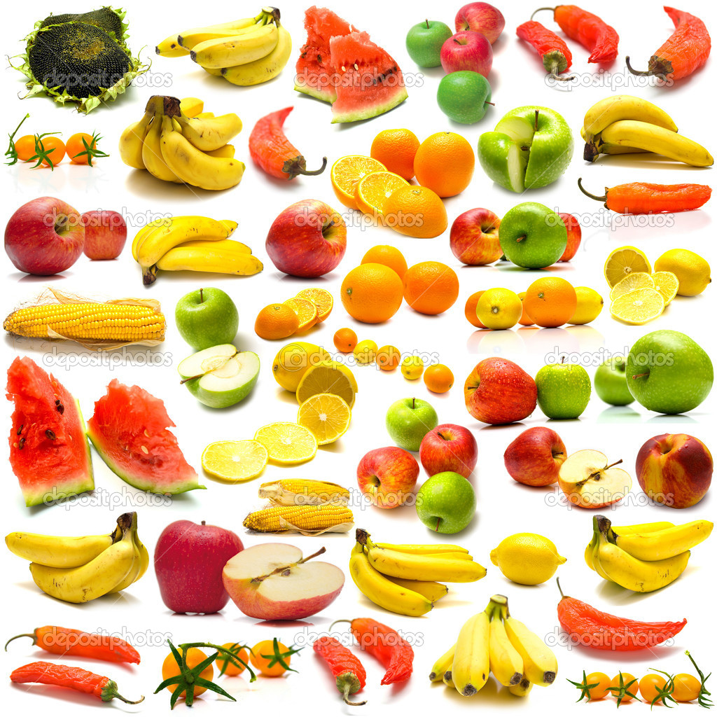 Collage from fruits and vegetables on a white background. Isolation  Stock Photo #1584409
