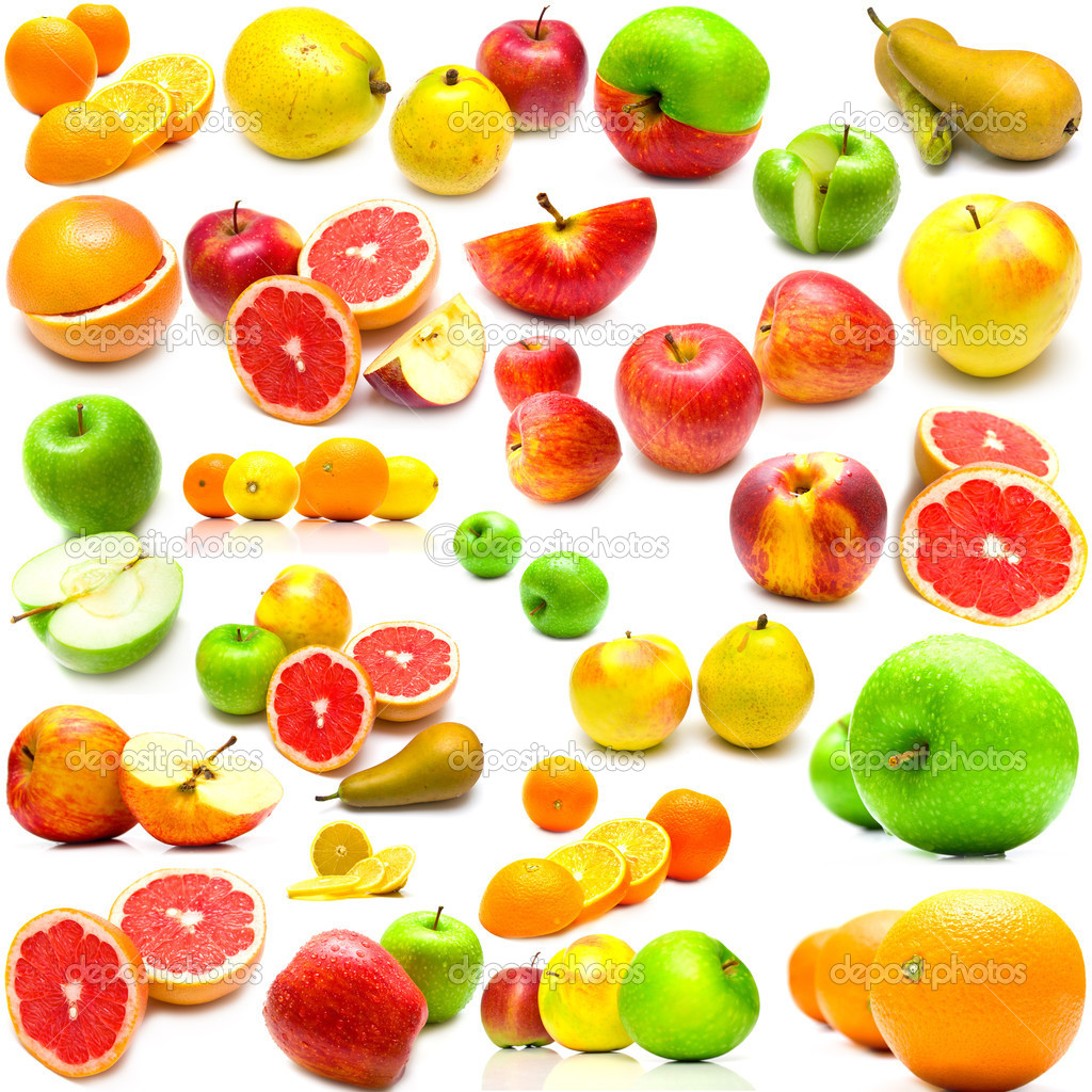 Collage from fruits on a white background. Isolation — Stock Photo #1584788