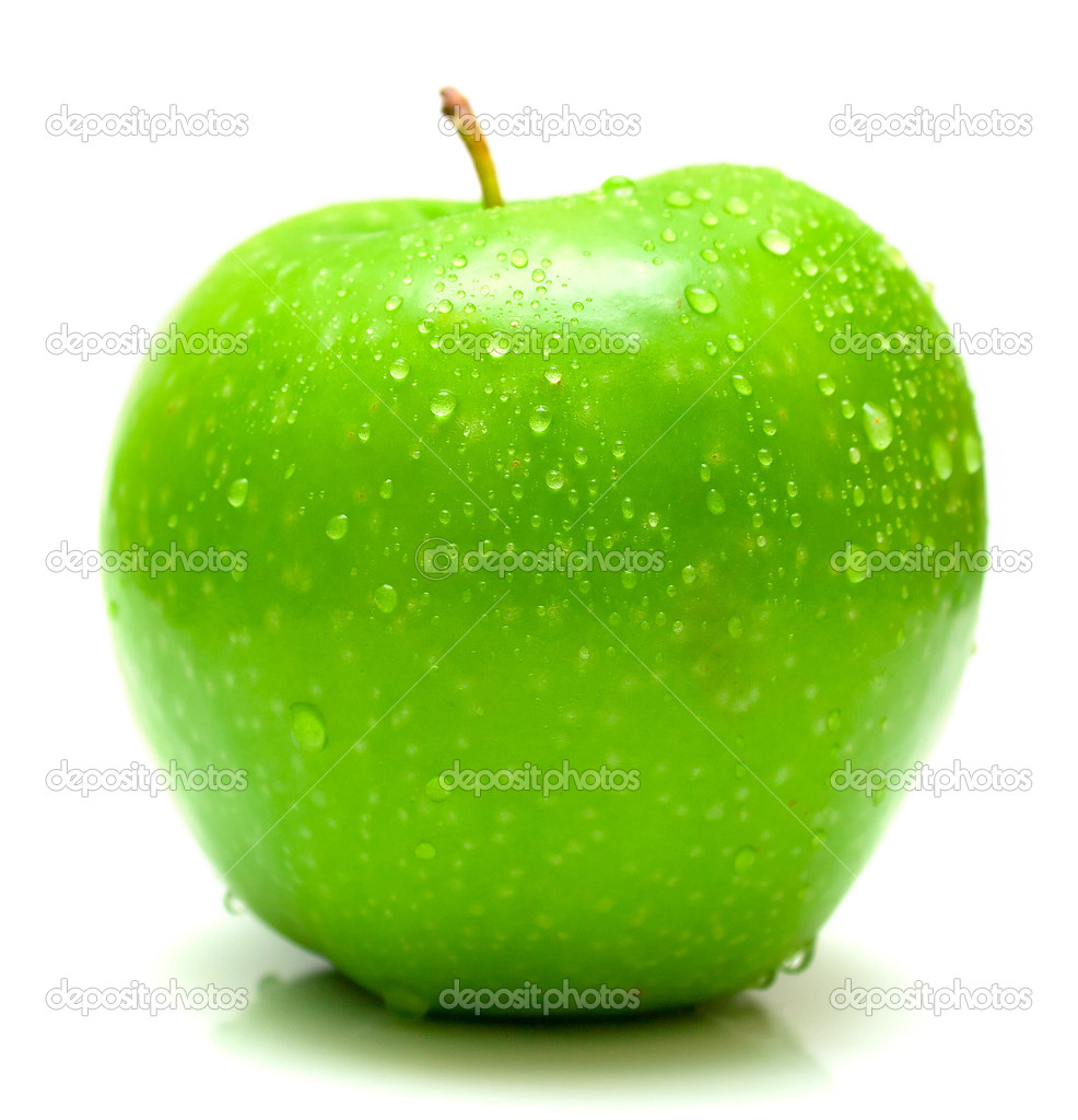 Wet green apple covered by water drops on white background. Isolation — Stock Photo #1585889