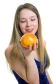Girl with orange grapefruit — Stock Photo