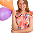 Joyful women with balloons in hands — Foto Stock