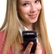 Smiling girl with cellular phone — Stock Photo #1633456