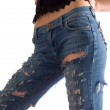 Black corset and blue jeans — Stock Photo
