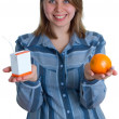 Stock Photo: Nice women with juice and orange