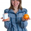 Nice women with juice and orange — Stock Photo
