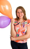 Joyful women with balloons in hands — Stock Photo