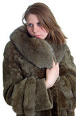 Beautiful women in fur coat — Stock Photo