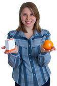 Nice women with juice and orange — Stock Photo