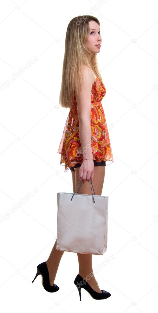 The young beautiful girl with the bag. Isolation on the white — Stock Photo #1633543