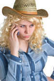 Blonde girl with cellular phone — Stock Photo