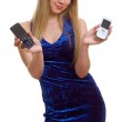 Beautiful girl with two cellular phones — Stock Photo #1991046