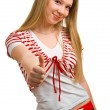 Smiling girl showing Thumbs up — Stock Photo #1991511