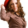 Beautiful girl in a red hat — Stock Photo