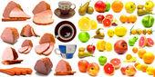 Frutas, presunto, salsichas e copos — Fotografia Stock