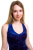 Girl in a dark blue dress — Stock Photo