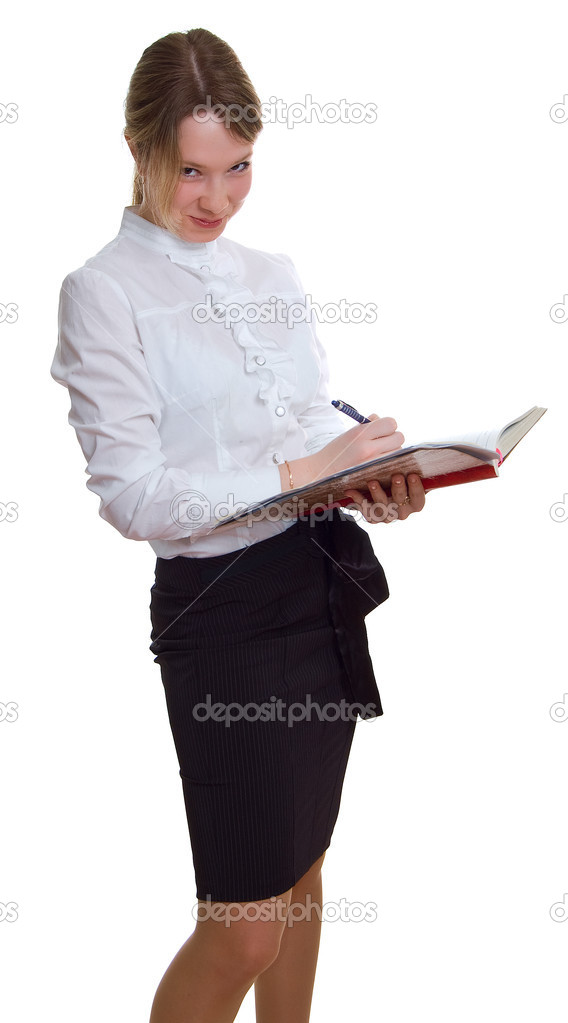 Young teacher with pen and a book. Isolation on a white background — Stock Photo #1993146