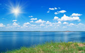 Summer landscape with lake — Stock Photo