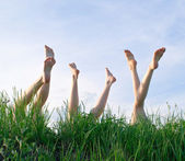 Feet of girls — Stock Photo
