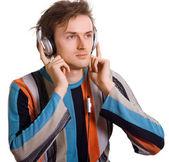 Shaggy men in headphones — Stock Photo