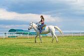 The girl astride a horse — Stock Photo