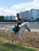 Girl astride a horse — Stock Photo