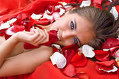 Beautiful girl in rose petal — Stock Photo