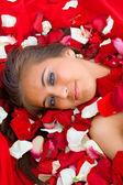 Girl in rose petal — Stock Photo