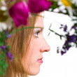 Stock Photo: Serenity young women with flowers