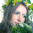 Stock Photo: Women with floral wreath