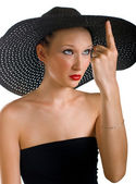 Ridiculous women in black hat — Stock Photo