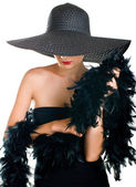 Serenity women in black hat and boa — Stock Photo
