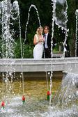 Braut und bräutigam im sommer park 2 — Stockfoto