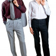 Two young businessmen on white - Foto Stock