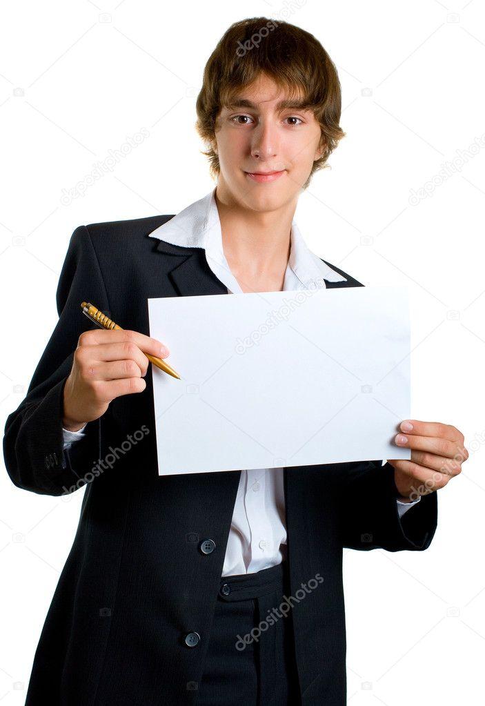 Тимати с листом бумаги