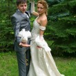 Bride and groom with pigeons - Stockfoto